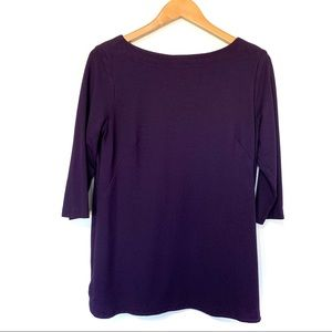 Jjill pointe knit tunic top eggplant purple 3/4